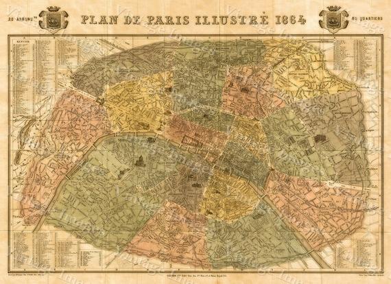 "Historic Map of Paris France 1864 Garnier Vintage map Paris Monument Street wall map Fine art print Home Decor up to 42 x 56"""