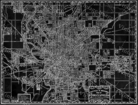 Indianapolis Map Black Map of Indianapolis 1899 vintage Indianapolis Bicycle art and Driving Map decorator style Blueprint Style wall Map