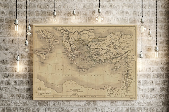 1847 Biblical Map of Saint Paul Travels Biblical Region Map Rustic decor map Christian Wall Map Vintage Map Home Gift Idea