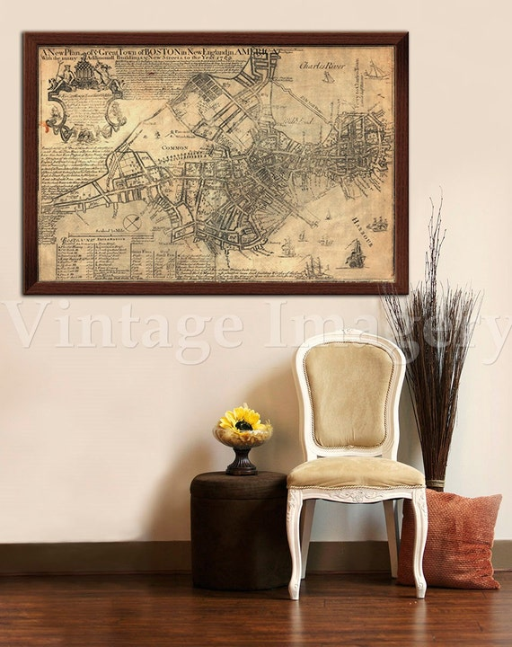 "Old Boston Map 1769 Historic Boston map Antique Boston Map sizes up to 43"" x 60"" Boston wall art"