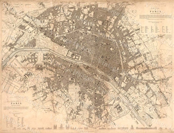 Vintage Paris Map Historic large 1834 Map of Paris Restoration Old World Style Paris wall Map Clarke SDUK Fine art Print Poster
