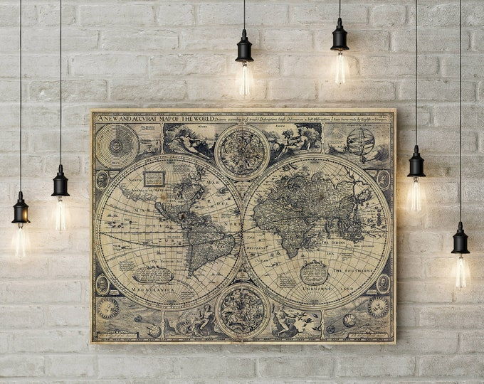 Featured listing image: Old world map, World map wall art, antique world map,Large map of the world, Historic 1626 Restoration Style housewarming gift map decor