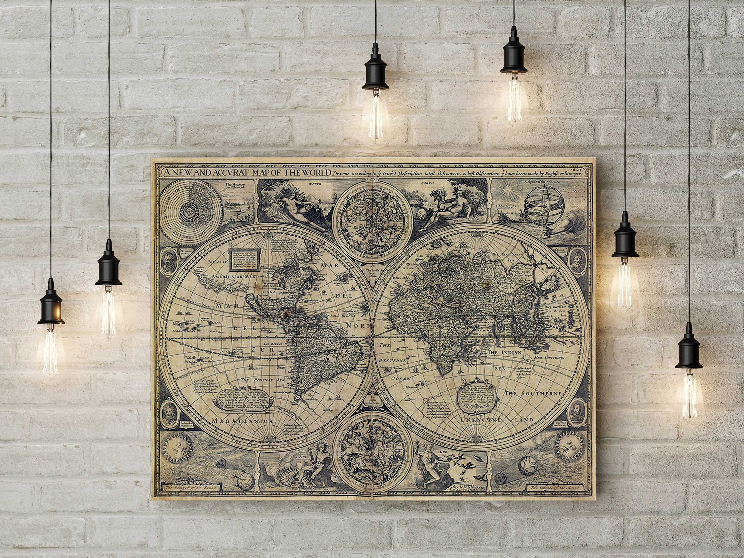A New And Accvrat Map Of The World 1626.Old World Map World Map Wall Art Antique World Map Large Map Of