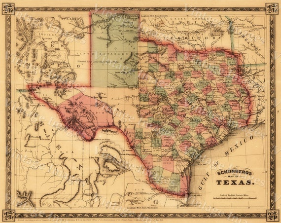 1866 Texas Map OLD WEST map Antique Texas Map western decor Old Style wall Map of Early Texas Fine art Print Texas Poster home Office decor