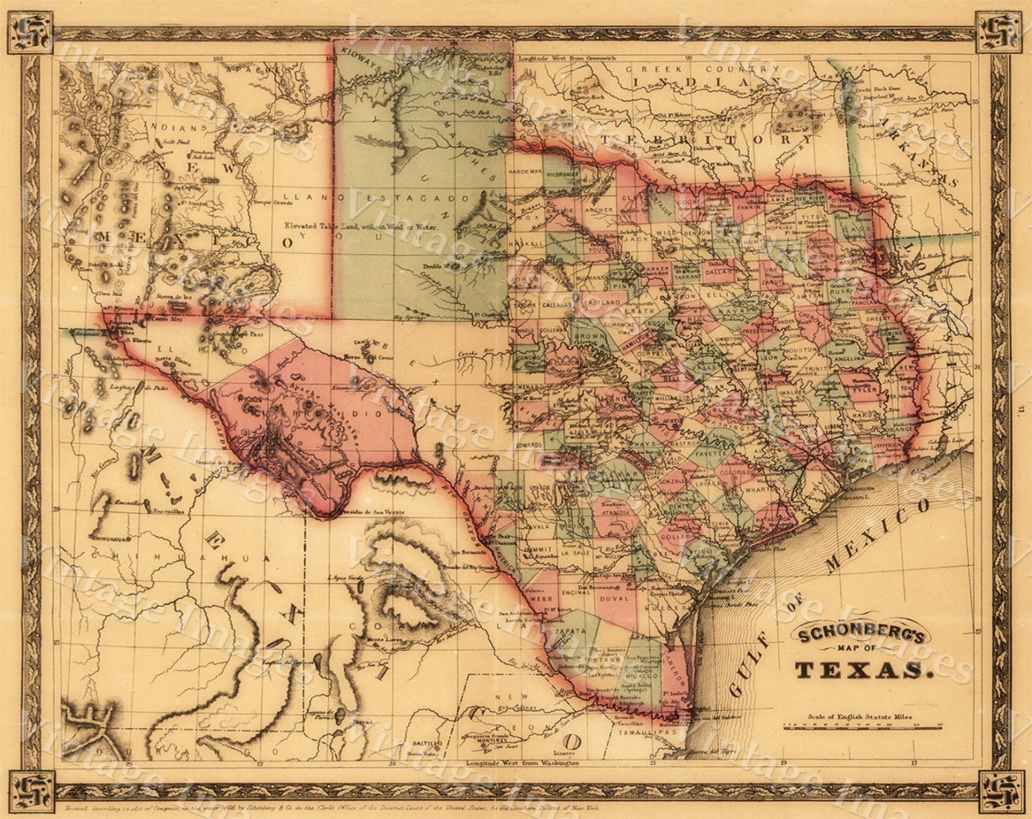 1866 Texas Map OLD WEST map Antique Texas Map Restoration decor Old ...
