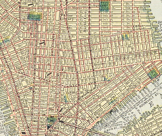Old New York Map City Map Huge Vintage Historic 1910 New York City Nyc Old Antique Style Street Map city plan Fine Art Print Giclee Poster