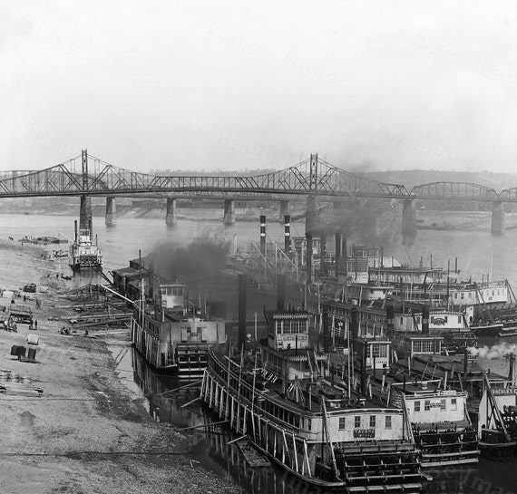 Cincinnati Steamboat Photo Print, Ohio River photo, Ohio Steamboats, Paddle Boat Print, Vintage Paddle Wheel Photo, Riverboat Poster decor