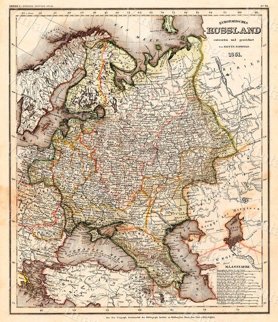 Giant Map of Russia VINTAGE HISTORIC 1851 german antique Old World Restoration Style Russia Map Fine Art Print wall map poster