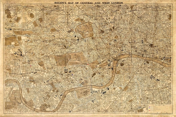 1860 London Map Historic England custom listing for Guy  24x36