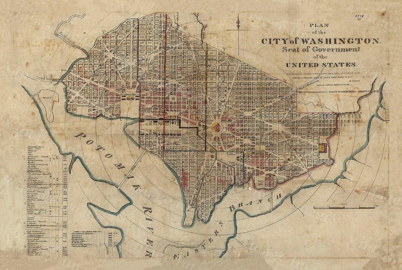 Se Dc Map.Vintage 1829 Historical Map Of Washington D C Antique Etsy