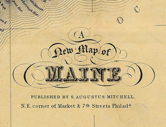 1846 Old Maine Map Historic Old Map of Maine Antique Style Maine state Wall Map home office decor maine  housewarming gift coastal living