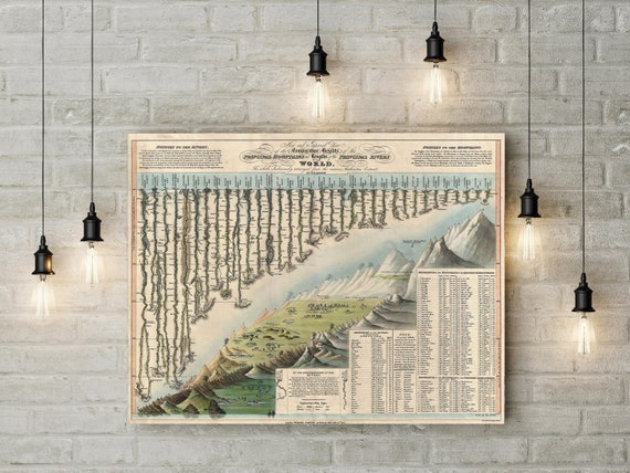 Mountains Rivers Chart Map Historic Map 1823 Darton & Gardner World Map Old World Style Map Fine Art Map HouseWarming Gift Rock Climbing art