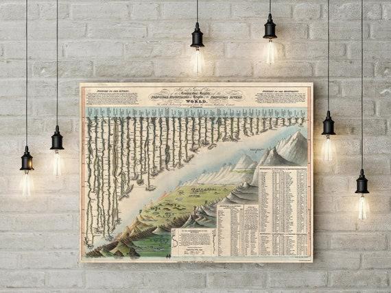 House Warming Gift Rock Climbing art Mountains Map Rivers Chart Map climber gift  art Map Old World Style Map Fine Art Print map decor