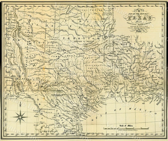 "Texas wall Map 1841 Republic of Texas map, Texas state Historical map, Antique Restoration decorator Style  up to 42"" x 53"" Texas Art Print"