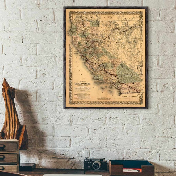 California Map, 1876 old map of California, California Map Print, California Decor, Historical Map, Historical Print, California gift