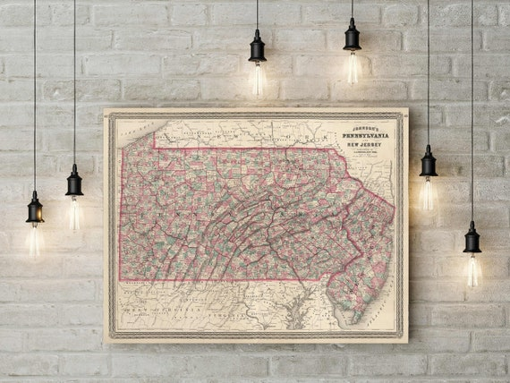 1864 Vintage map of Pennsylvania Pennsylvania map Pennsylvania Housewarming Gift Pennsylvania Map Art decorative Pennsylvania map home Art
