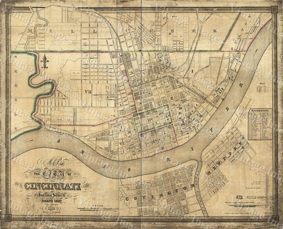 1838 Cincinnati Ohio Street Map Old Map of Cincinnati Historic Restoration Hardware Style Cincinnati Fine Art Print Wall map Home Decor Gift