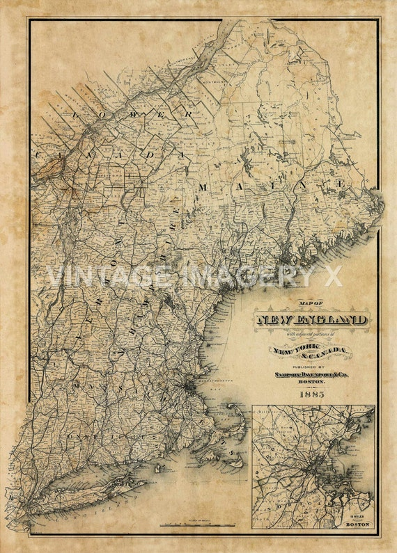 Old New England Map.Old Map Of New England 1885 Vintage New England Map Etsy