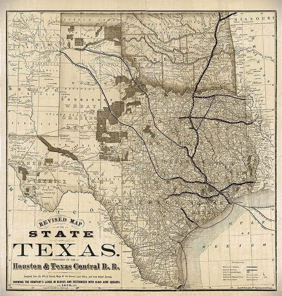 Old Map Of Texas 1876 Vintage Historical Wall Map Antique Etsy