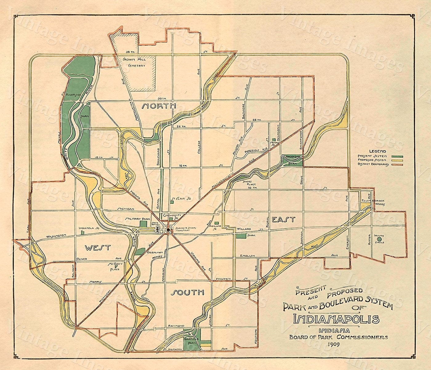 Old INDIANAPOLIS Map 1908 Indianapolis Print,Wall Decor Restoration ...