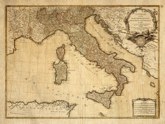 Italy map - Vintage Italian map - Antique map print - Vintage map of Italy - Fine reproduction - Map Decor - Giant Wall Map - French Map
