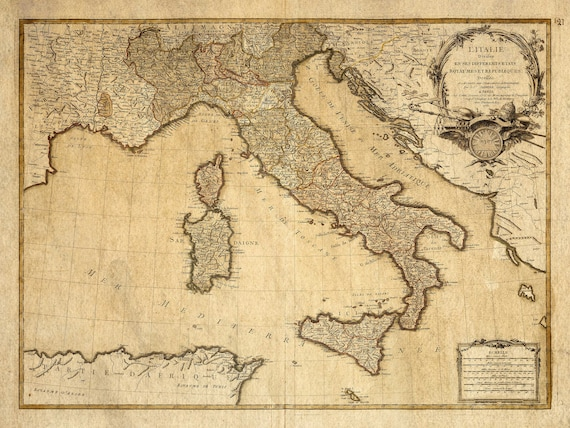 Italy map - Vintage Italian map - Antique map print - Vintage map of Italy - Fine reproduction - Map Decor - Giant Wall Map