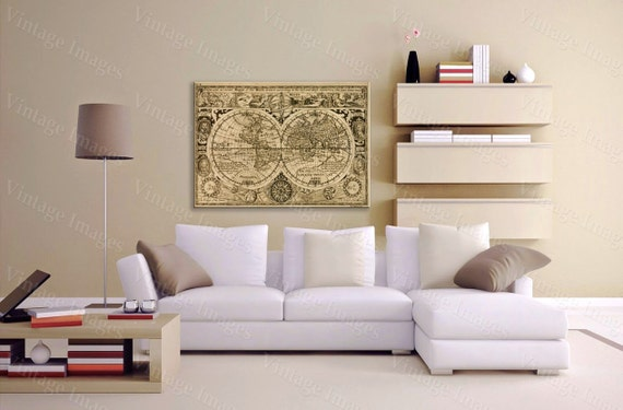 "Giant Historic 1628 Old Antique Restoration decorator Style World Map Fine Art Print Old World Map Wall Decor Large size up to 43"" x 56"