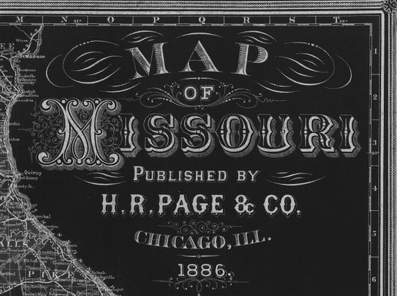 Black Missouri state map Rustic Style Travel Map   Map decor 1886 Missouri Wall Map Vintage Missouri Map Home Decor Gift