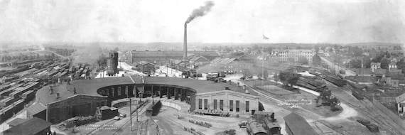 Vintage Panoramic Skyline Photo Lafayette Indiana  Black & White 1923 The Monon Shops Railroad Train Yard Indiana Trains Terminal Photograph
