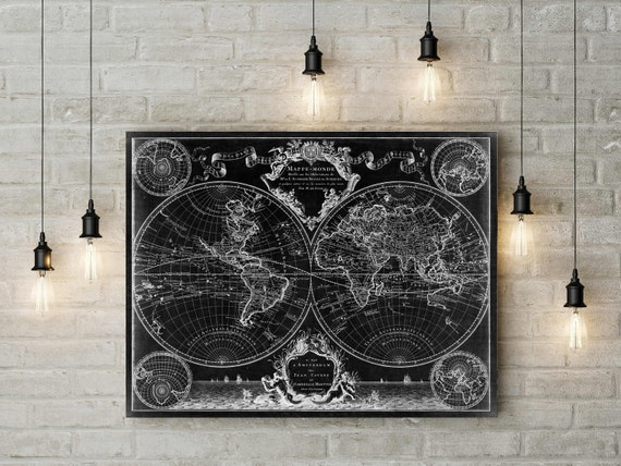 1720 Old World Map,Black Map wall art, Historic Map Antique Style map art Guillaume de L'Isle mappe monde Wall Map Vintage Map Home Decor