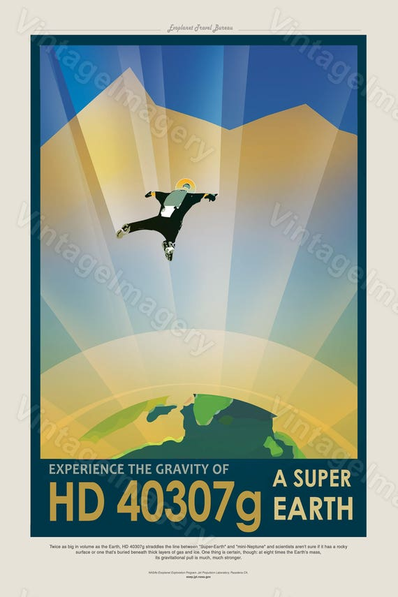 Nasa ExoPlanet Travel Poster Super Earth HD 40307g NASA/JPL Space Travel Poster Great Gift idea for Kids Room Office man cave Wall Art Print