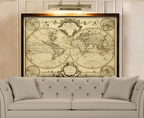 Giant Historic World Map 1720 Old Antique Style World Map Fine Art Print Old world map Wall Map Decor Housewarming gift