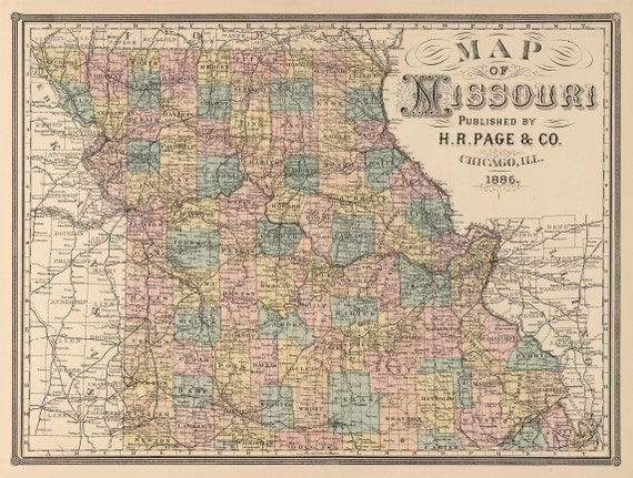 Giant Map of Missouri Rustic Style Travel Map   Map decor 1886 Missouri Wall Map Vintage Map Missouri Home Decor Gift