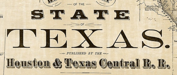 1876 Old Texas Map Vintage Historical Wall map Antique Restoration Style Map Texas state Map Texas Map Texas Wall Art Fine Housewarming gift