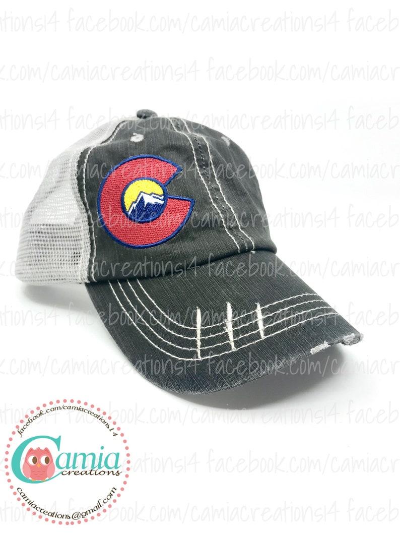 9bb8aa33447f5e Colorado Mountain Embroidered Hat Trucker Hat Baseball Cap | Etsy