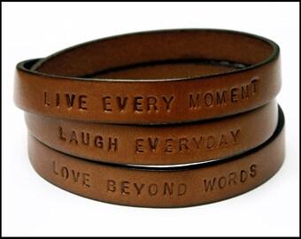 Women's Leather Wrap Bracelet, Engraved Leather Bracelet, Personalized Wrap Bracelet, Gift for BFF, Inspirational Message, Quote Bracelet