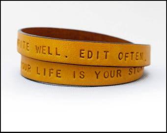 Women's Custom Leather Bracelet, Inspirational Message, Personalized Bracelet, Wrap Bracelet, Graduation Gift Idea, Girlfriend, Wife, BFF