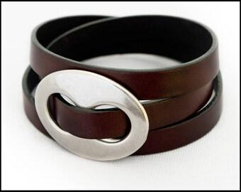 Leather Wrap Bracelet, Women's Leather Bracelet, Triple Wrap Leather Bracelet with Silver Oval, Leather Jewelry for Women