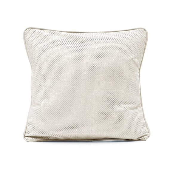 SCENERY LABEL Leather Cushion White