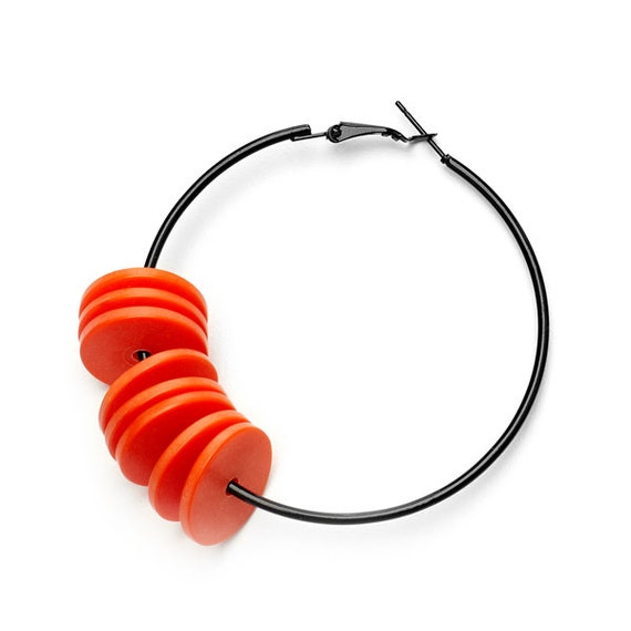 SCENERY LABEL Hoop Earrings Orange