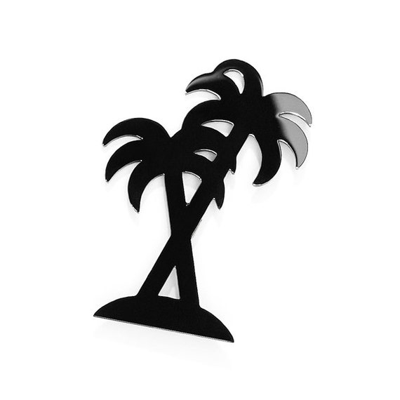 SCENERY LABEL Palm Brooch Black