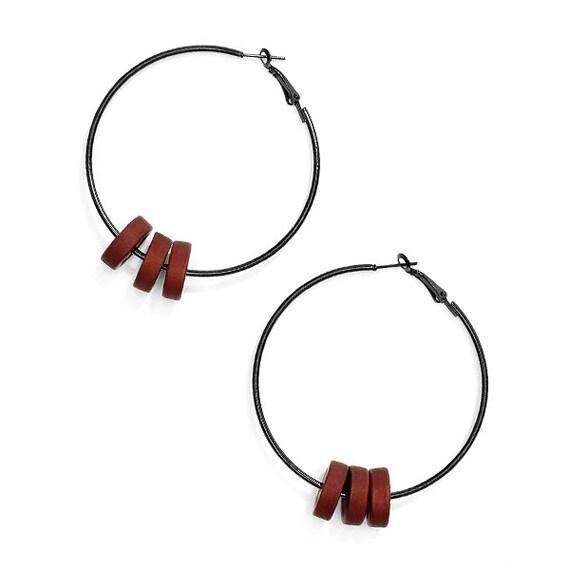 SCENERY LABEL Hoop Earrings Brown