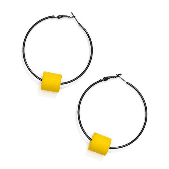 SCENERY LABEL Hoop Earrings Yellow