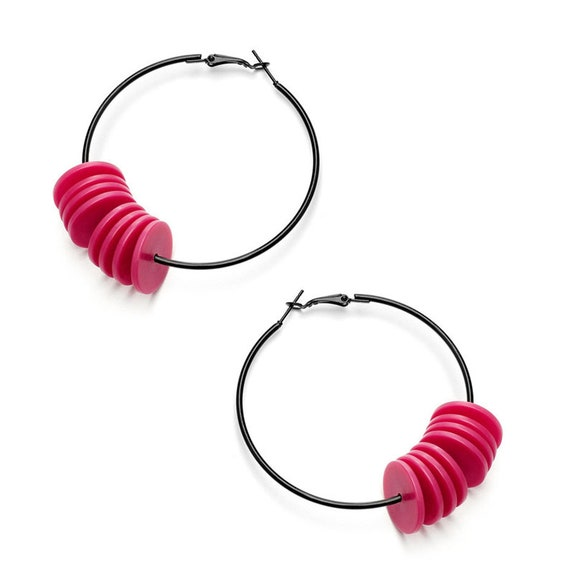 SCENERY LABEL Hoop Earrings Pink