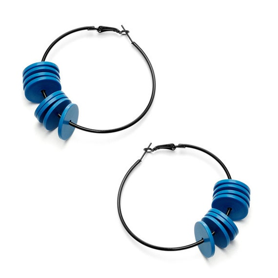 SCENERY LABEL Hoop Earrings Blue