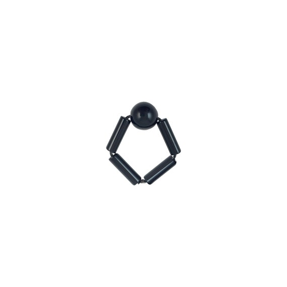 SCENERY LABEL Bead Ring Black Ball