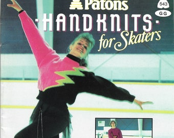 Vintage 1990s Patons 543 Hand Knits for Skaters 12 Designs. Womens, Mens, Girls and Boys Styles, Pull Over, Wrap,  Zipper and Button Front.