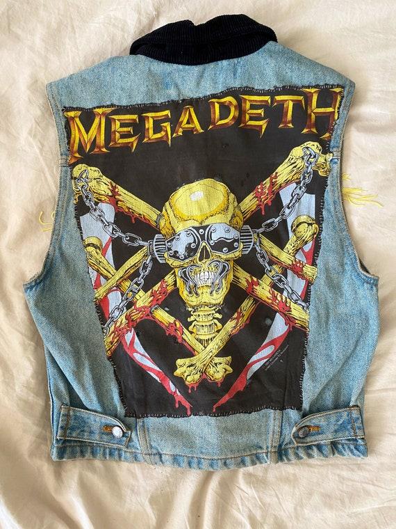 RARE!! Denim Vest Megadeth Back Psych