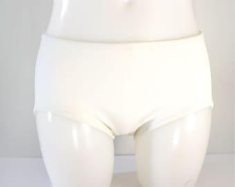 4430bd32385b 1960s Darted Opaque White Bikini Bottoms