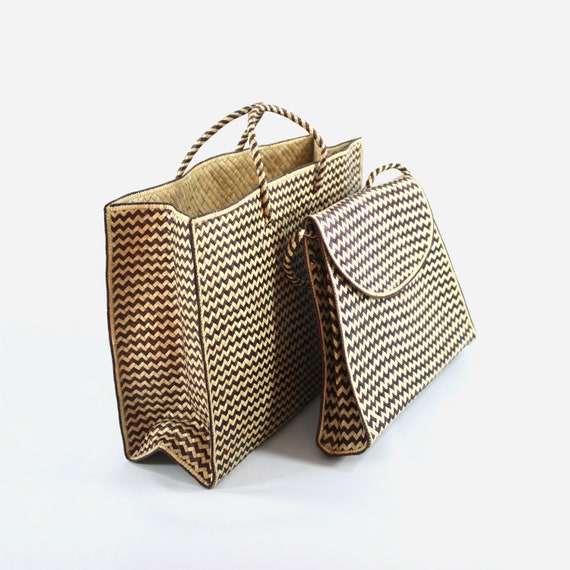Straw Tote and Shoulder Bag Set, Zig Zag Seagrass